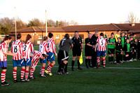 Teams line up before Gloucestershire FA Trophy Final between Cheltenham Town Ladies First and St Nicholas Ladies Reserves