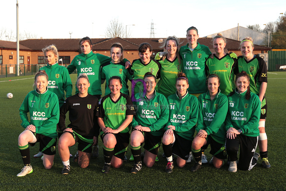 St Nicholas Ladies Reserves team line up before their Gloucestershire FA Trophy Final against Cheltenham Town Ladies First