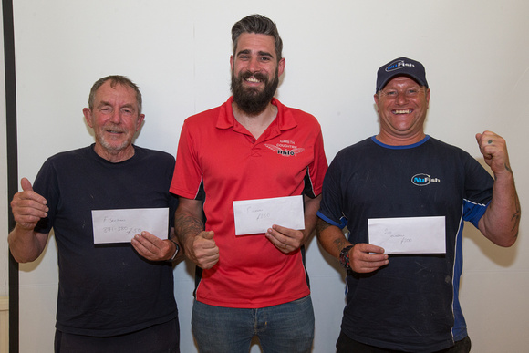 Qualifiers from the Feeders Masters on Gloucester Canal, L to R: Nigel Phillips, Gareth Coughtrie and Shaun Stenton
