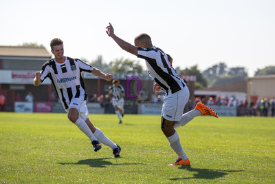 Jake Reid and Ryan Upward celebrate the second goal in the match that finished Eastbourne Borough 1-2 Maidenhead United